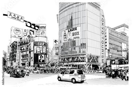 La pose en embrasure Art Studio TOKYO, famous Shibuya crossroad
