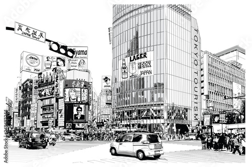 Spoed Foto op Canvas Art Studio TOKYO, famous Shibuya crossroad