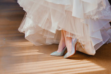 Wedding Dress And Shoes On Dress