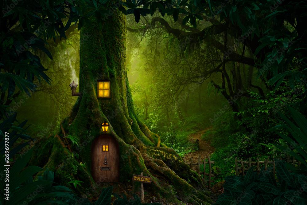 Fototapeta Gigantic tree with house inside