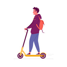 Urban Vehicle. Vector Cartoon Illustration Of Young Man With Backpack, Rolling On The Electric Scooter. Isolated On White.