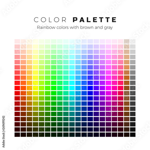 Colorful palette. Set of bright colors of rainbow palette. Full spectrum of colors with brown and gray shades. Vector illustration Wall mural