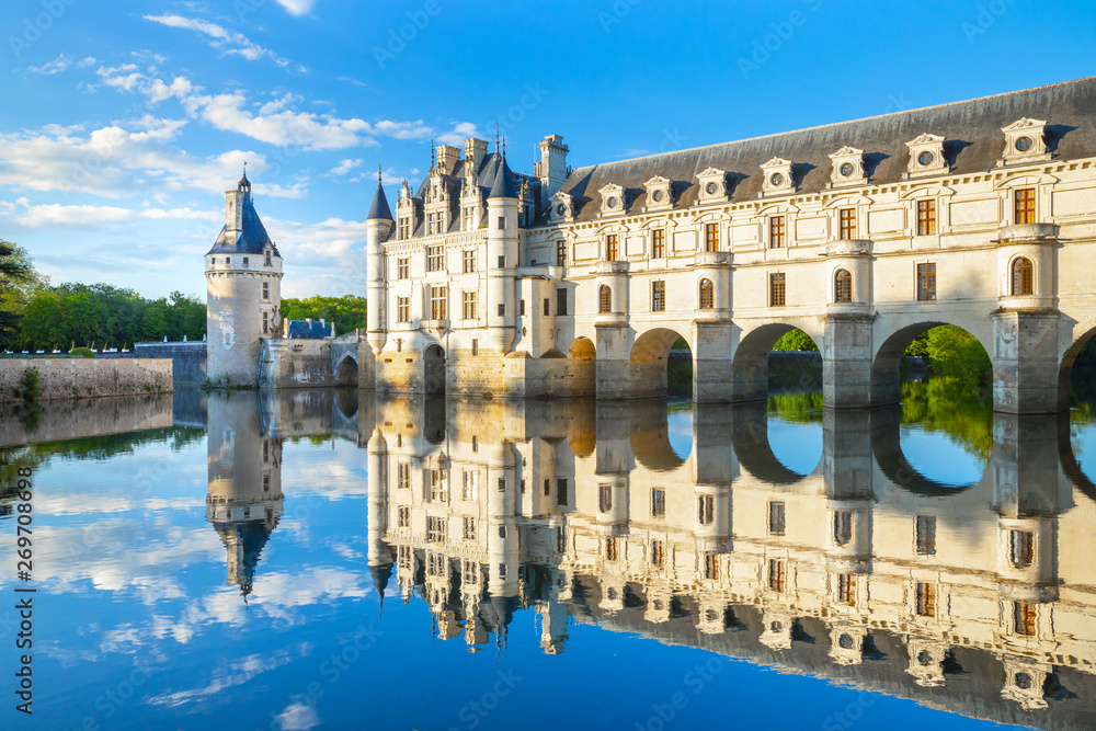 Fototapety, obrazy: Chateau de Chenonceau is a french castle spanning the River Cher near Chenonceaux village, Loire valley in France