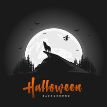 Creepy Halloween Background With Wolves