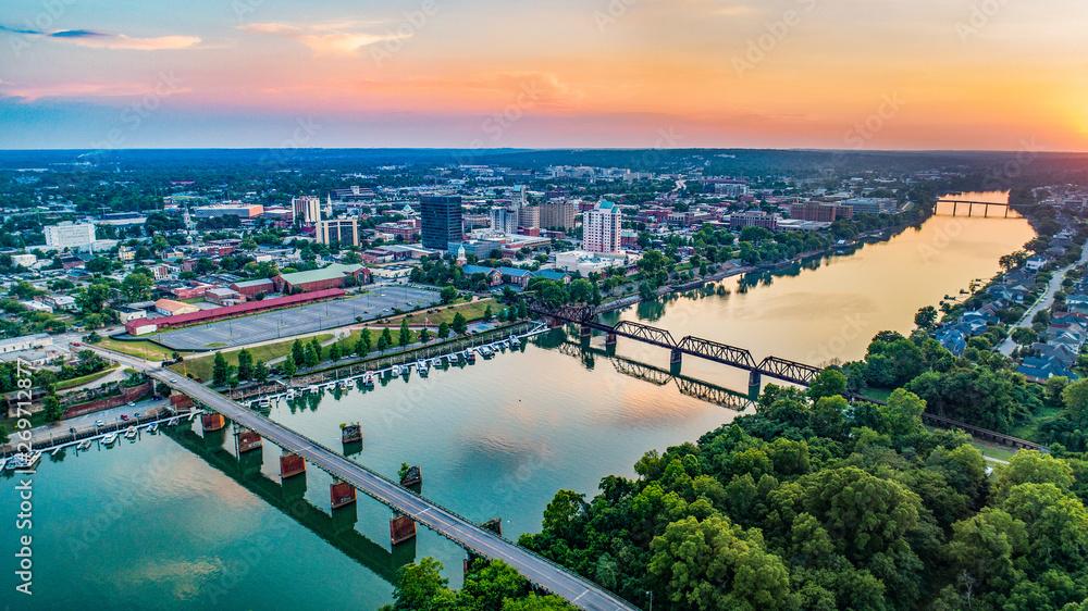 Fototapety, obrazy: Savannah River and Augusta, Georgia, USA Aerial