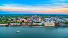 Savannah Georgia Downtown Skyline Aerial
