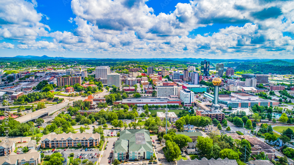 Fototapety, obrazy: Downtown Knoxville, Tennessee, USA Skyline Aerial