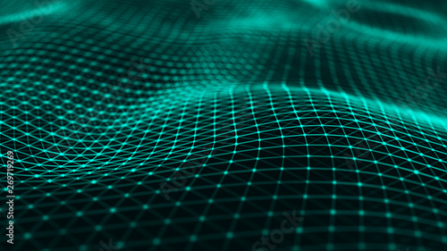 Aluminium Prints Fractal waves Wavy surface with many connected dots and lines. Abstract futuristic background. 3D rendering.