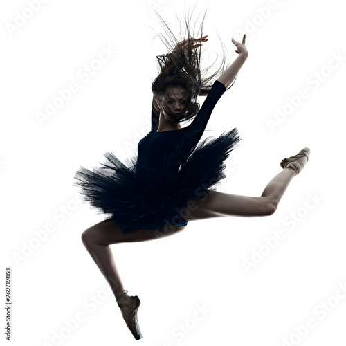 Obraz na plátně one young beautiful long hair caucasian woman ballerina ballet dancer dancing st