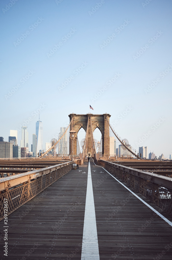 Fototapety, obrazy: Brooklyn Bridge at sunrise, New York City, USA.