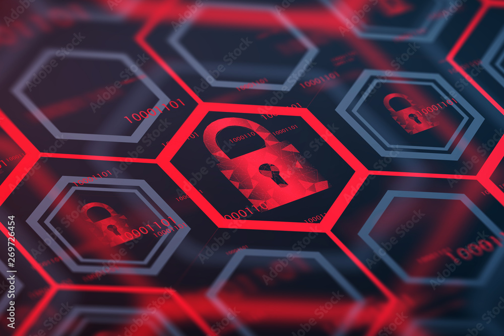 Fototapety, obrazy: Red online security digital button