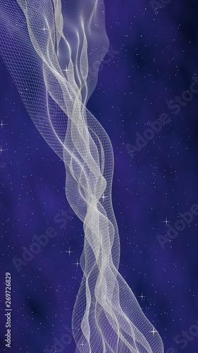 Cadres-photo bureau Abstract wave Abstract purple-blue starry background. White cyberspace grid. hi tech network. Outer space. Starry outer space texture. Deep space. Universe. 3D illustration