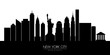 New York city skyline silhouette, vector illustration