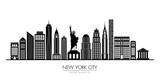 Fototapeta New York - New York city skyline silhouette flat design, vector illustration