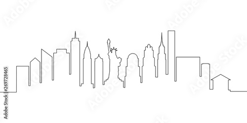Fototapeta New York city skyline single line, vector illustration obraz