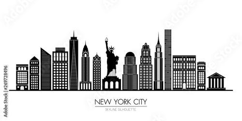 Fototapeta New York city skyline silhouette flat design, vector illustration obraz