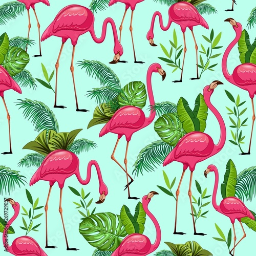 Foto op Aluminium Draw Pink Flamingos and Tropical Leaves Vector Seamless Pattern Design