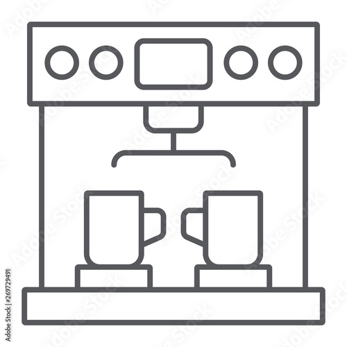 Coffe machine thin line icon, coffee and appliance, coffeemaker sign, vector graphics, a linear pattern on a white background Fototapete