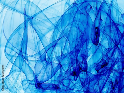 Photo sur Toile Fractal waves blue abstract fone 3 d