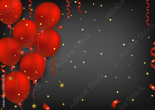 Red Balloons With Confetti Lights And Sparkles On The Black Background Banner For Birthday Events Holidays Sales Vector Illustrations Buy This Stock Vector And Explore Similar Vectors At Adobe Stock