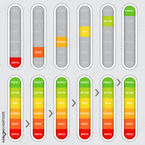 Set of color coded progress, vertical level indicator Canvas Print