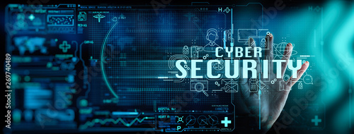 Leinwand Poster business hand working with Data protection Cyber Security Privacy Business Internet Technology Ui