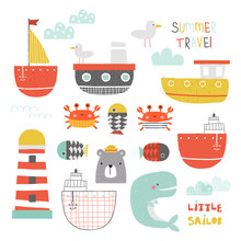 Cute Nautical Collection Of Water Transport And Sea Animals. Kids Nordic Graphic. Vector Hand Drawn Illustration.