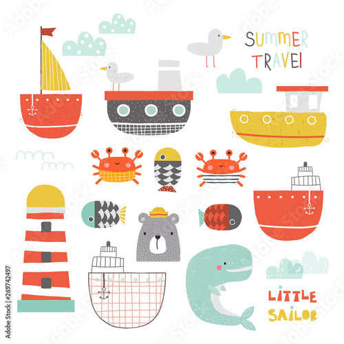 Cute nautical collection of water transport and sea animals