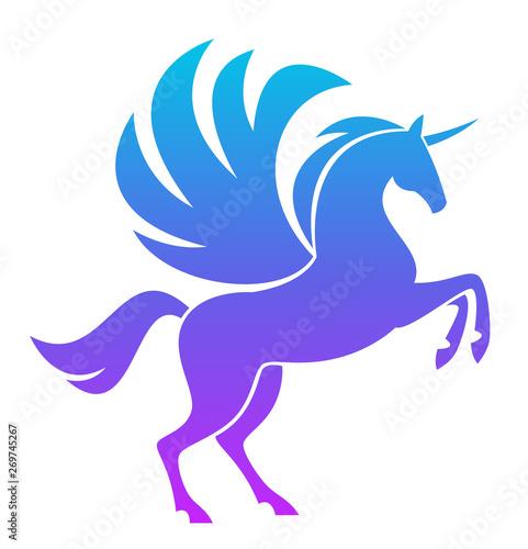 Fotografie, Obraz Blue Pegasus on a white background