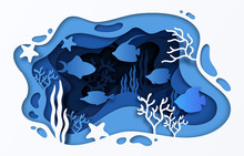Paper Cut Sea Background. Underwater Ocean Coral Reef With Waves Fish And Seaweeds, 3D Paper Style Cartoon Summer Poster. Vector Under Water Illustration