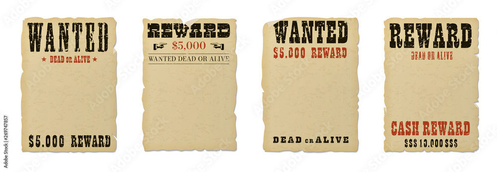 Fototapeta Wanted dead or alive blank poster template with grunge textured typography and ripped vintage faded yellow paper isolated on white background.