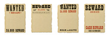 Wanted Dead Or Alive Blank Poster Template With Grunge Textured Typography And Ripped Vintage Faded Yellow Paper Isolated On White Background.