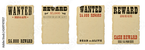 Photo  Wanted dead or alive blank poster template with grunge textured typography and ripped vintage faded yellow paper isolated on white background