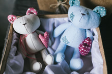 Soft Children's Toy Closeup. Handmade Toys
