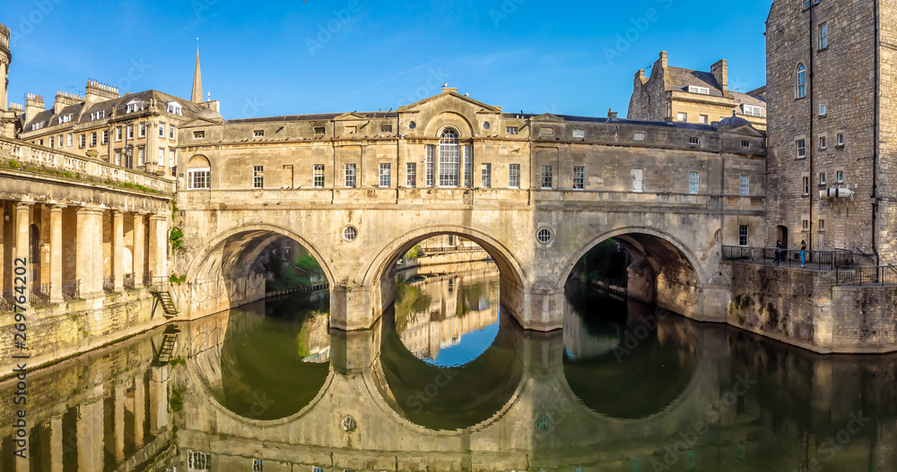 Fototapety, obrazy: Aerial view of Pulteney bridge in Bath, England