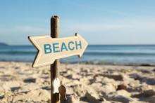 Beach Directional Sign Pole On...
