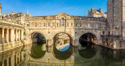 Aerial view of Pulteney bridge in Bath, England Canvas Print