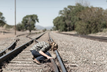 Tten Age Girl Looking At Railroad Tracks, Lamy, NM