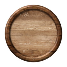 Round Wooden Signpost Or Plate Made Of Natural Wood And With Dark Frame