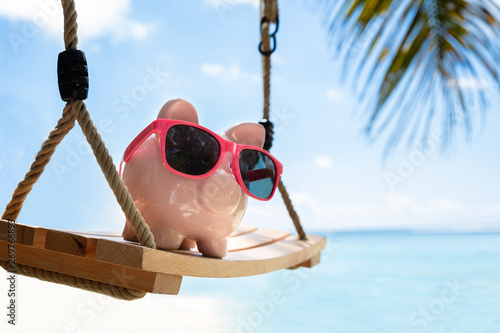 Foto  Pink Piggybank With Sunglasses On Wooden Swing