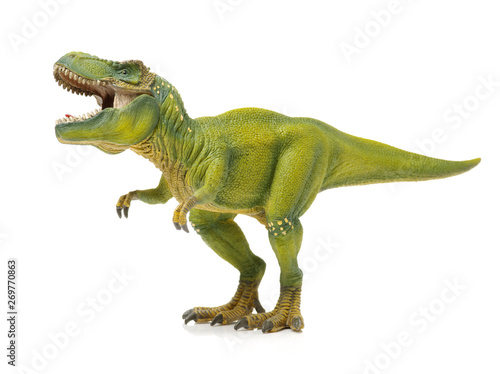 green tyrannosaurus on white background Canvas Print