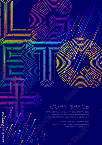Photo  LGBTQ+ big text dot and dash line pattern layer overlay, Poster banner or flyer