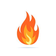Simple Vector Flame Icon In Fl...