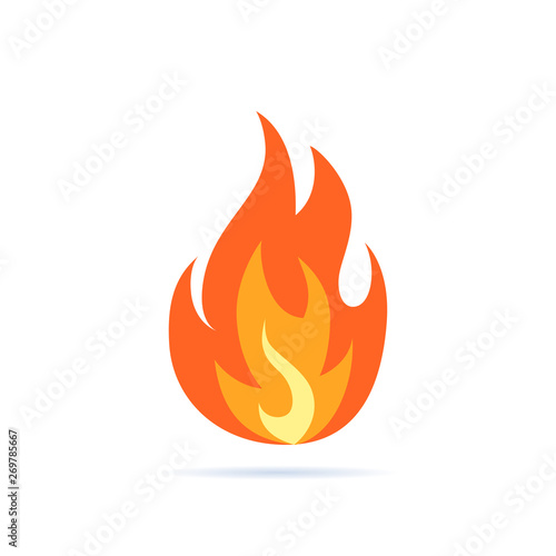 Simple vector flame icon in flat style Wallpaper Mural