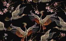 Embroidery Crane Birds And Sak...