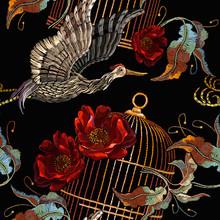 Japanese Crane Birds And Golde...