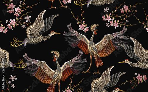 Embroidery crane birds and sakura flowers seamless pattern Fototapet