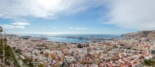 Panorama of Almería from the Alcazaba on a sunny day