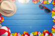 Holiday attributes on blue background