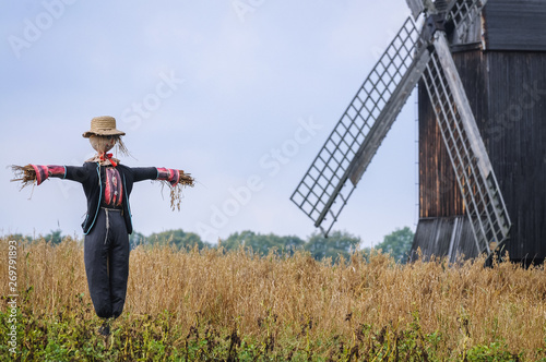 Stampa su Tela Scarecrow in front of wooden traditional post mill from late 18th century in Ols